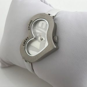 Lucky Brand Women Watch White Leather Band Love